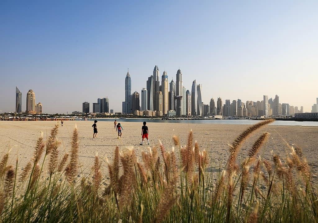 Palm West Beach Dubai Blick auf The Beach