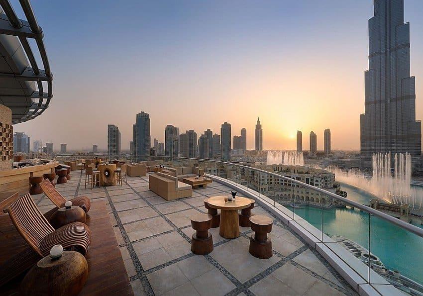 Aussicht vom Neos auf Dubai Fountain